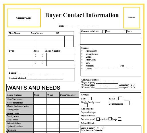 Buyer Contact Form Yellow Real Estate Forms Realtor Forms