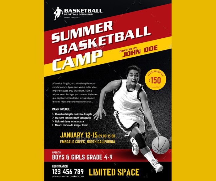 SummerBasketballCampFlyer  Flyer Templates    Psd