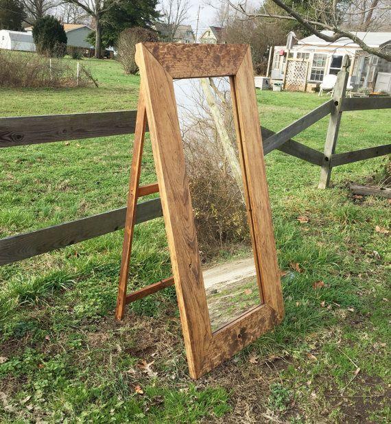 Wood Floor Mirror On Easel Chain Standing Bedroom Mirrors Rustic Decor Diy Easel Diy Flooring Floor Mirror
