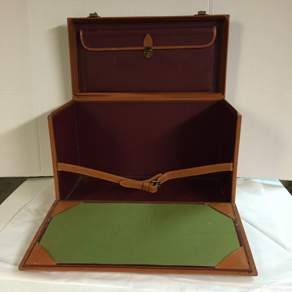 Writer's Travel Case Leather Briefcase Luggage Vintage Portable Writing Desk
