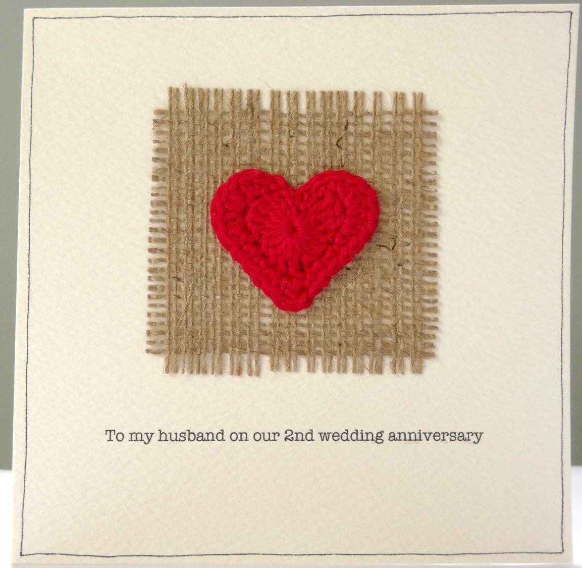 2nd Wedding Anniversary Card Romantic Hessian And Red Heart Etsy 2nd Wedding Anniversary Wedding Anniversary Cards Wedding Anniversary