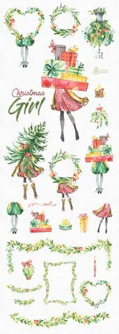 Photo of Christmas girl. Watercolor holiday clipart, lady, vintage, floral wreaths, will, christmas …
