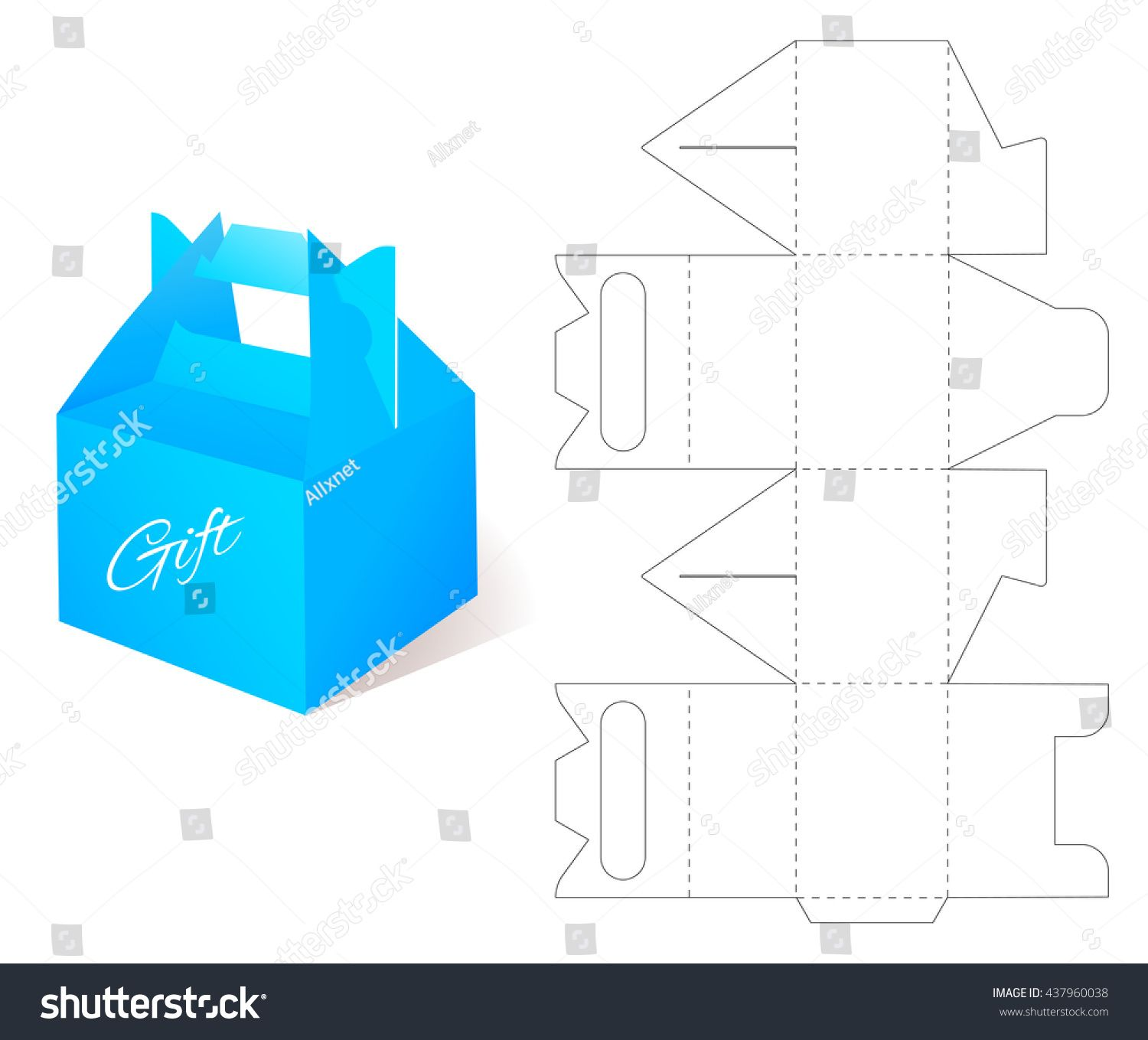 Gift Blueprint Box Template Craft Mockup Retail Cardboard With Cut Pattern Line