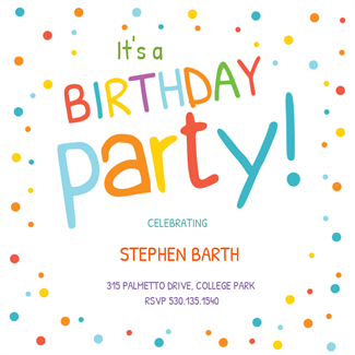 Confetti Dots Border  Printable Birthday Invitation Template