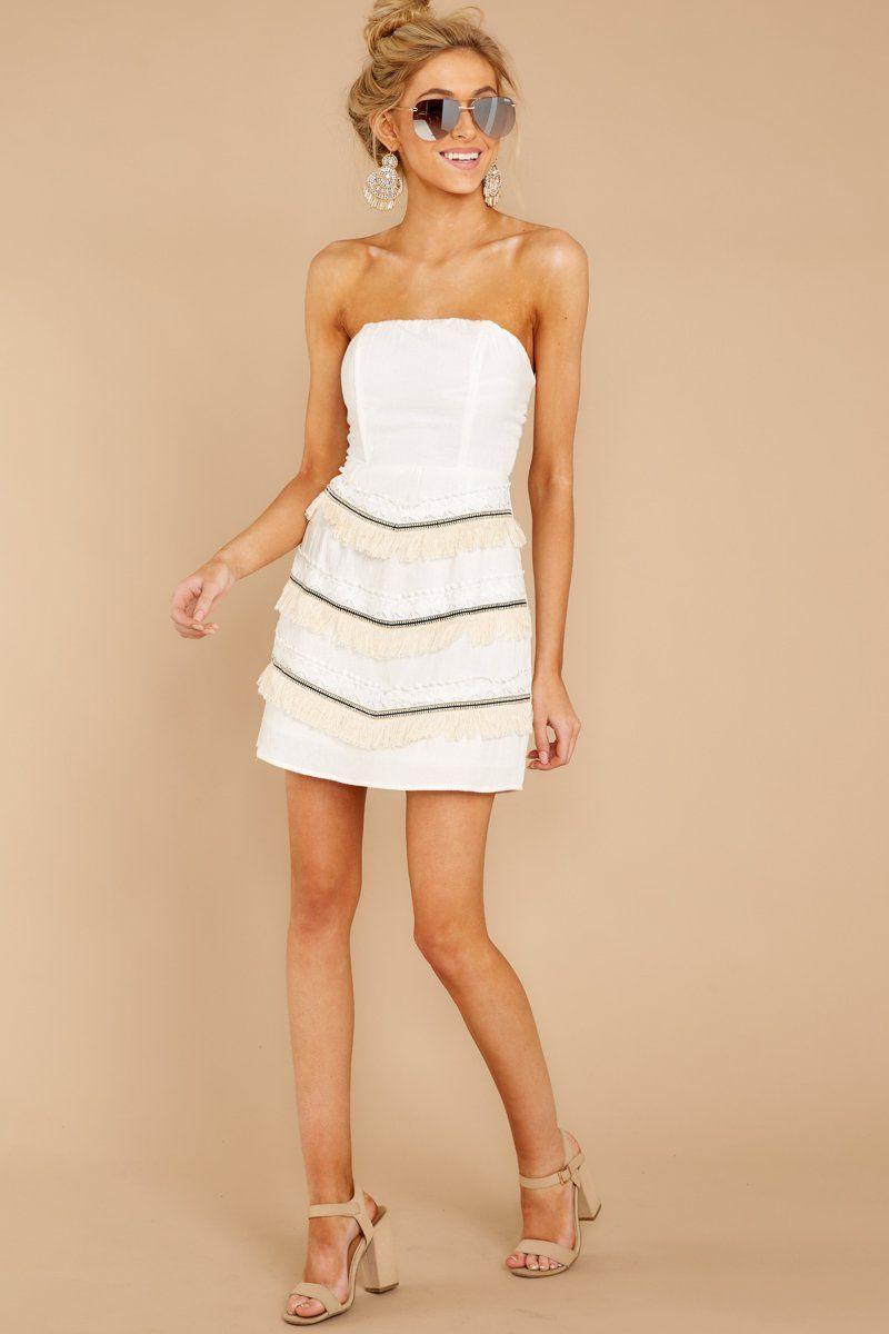 60575abeee Sexy White Fringe Dress - Strapless Bodycon Dress - Dress -  48.00 – Red  Dress Boutique