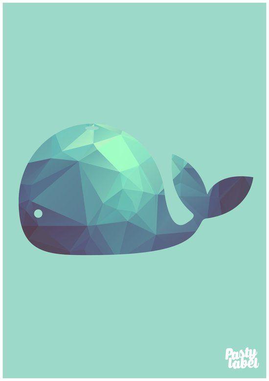 kinderkamer poster - babykamer - decoratie - walvis - mint - a2, Deco ideeën