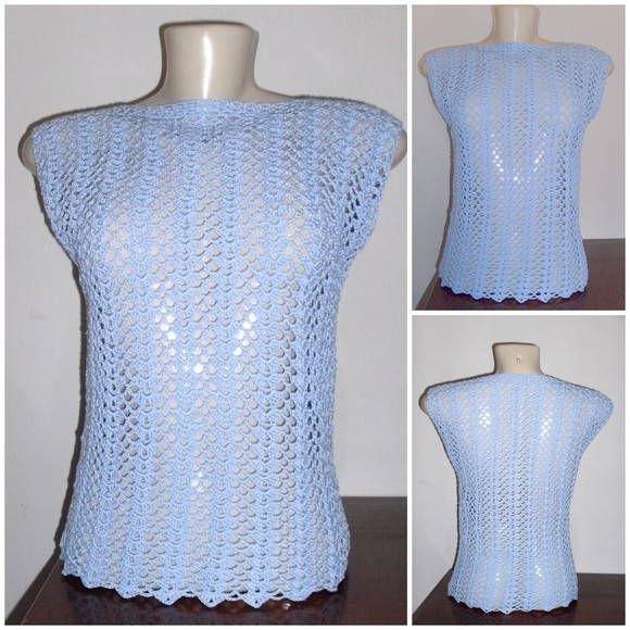 MT4183 Blusa verão em crochet - linha Tropfil da Pingouin (100% algodão mercerizado) cor azul - Tamanho M comprimento: 0,52cm - largura: 0,39 - cava: 0,22cm peça única no tamanho e cor apresentada R$ 60,00