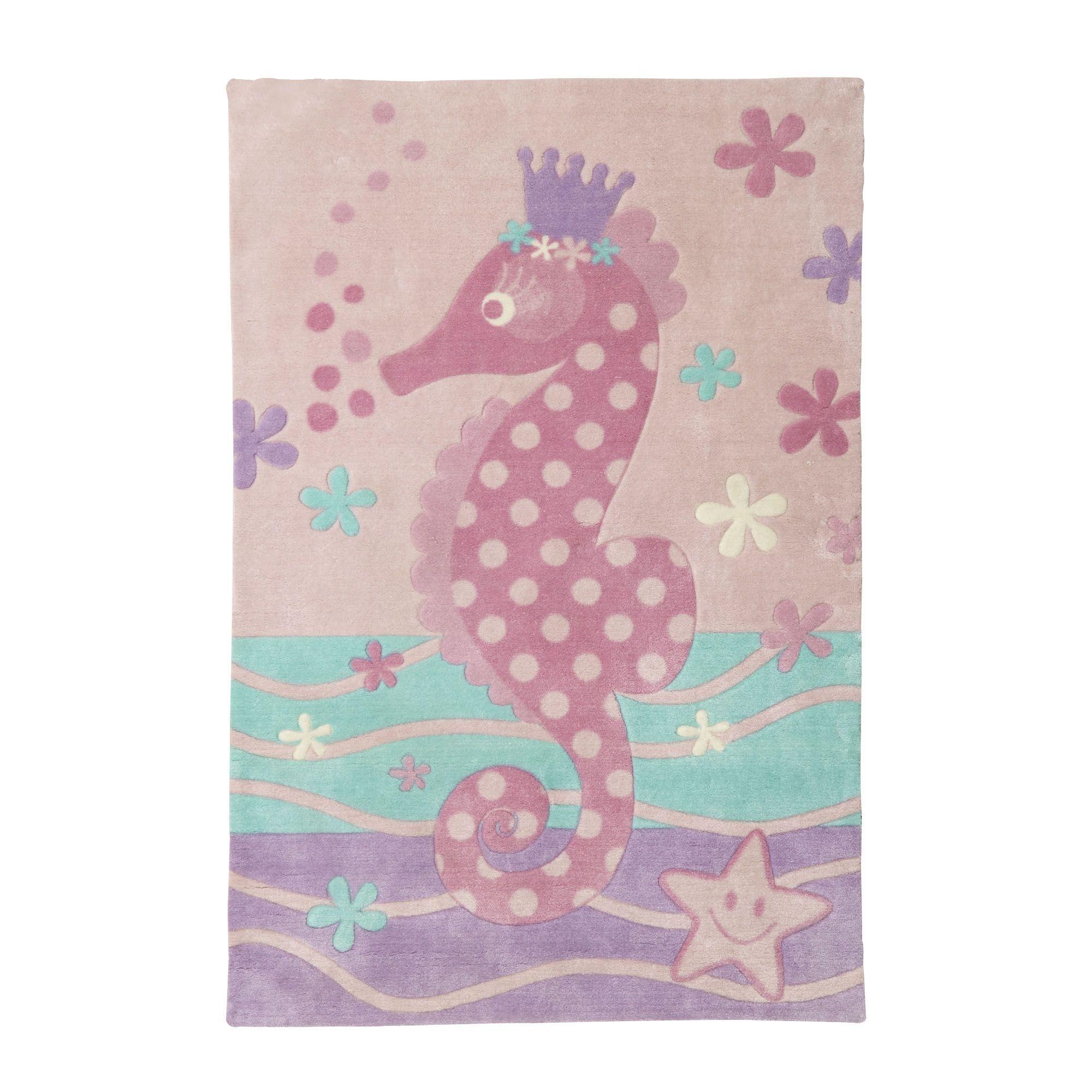 Tapis 100x150cm motif hippocampe Rose Hyppo Les tapis de