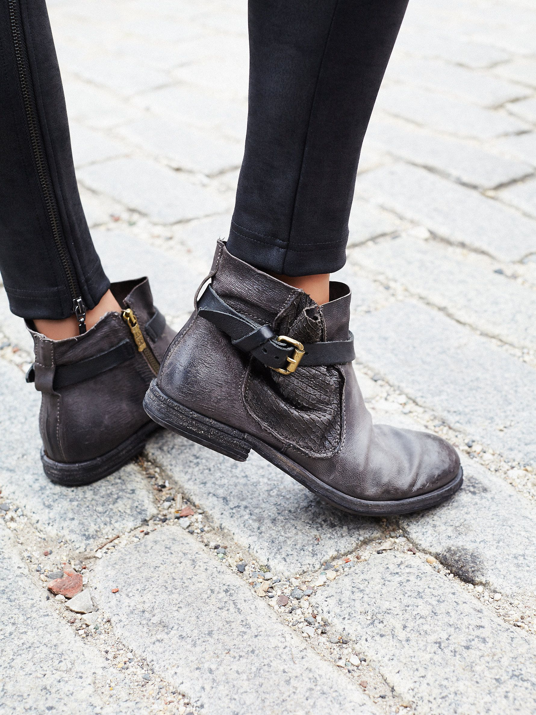 Imperial Distressed Ankle | Rugged and distressed leather ankle boots featuring…