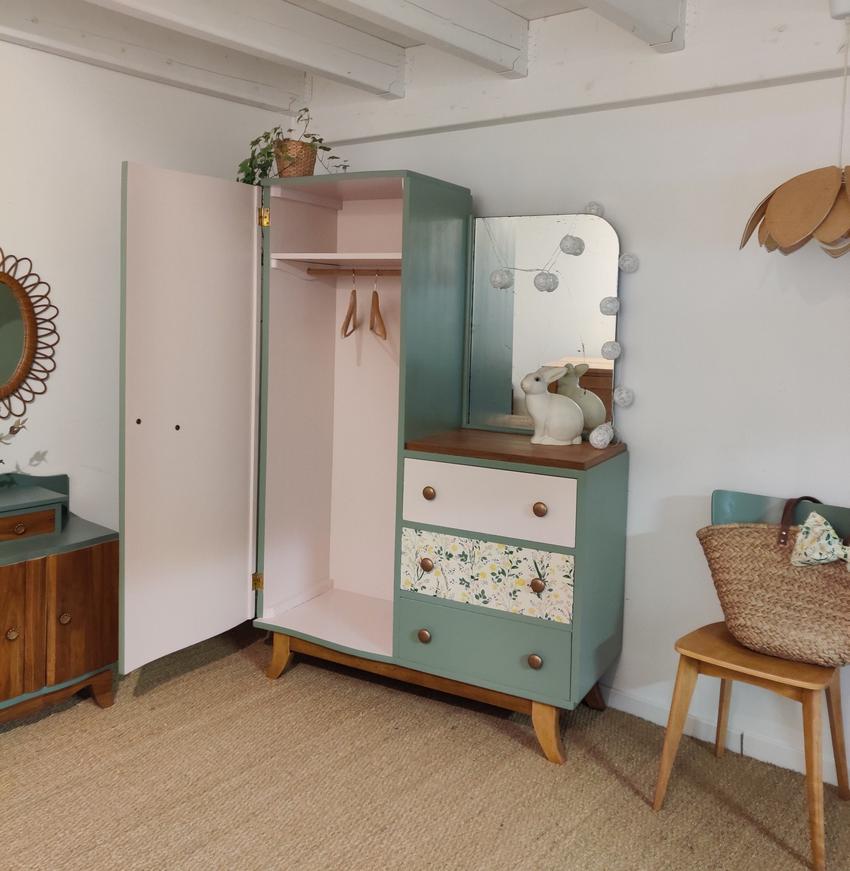 Armoire Vintage Violaine 13 En 2020 Mobilier De Salon Relooking Meuble Rangement Pour Chambre D Enfant