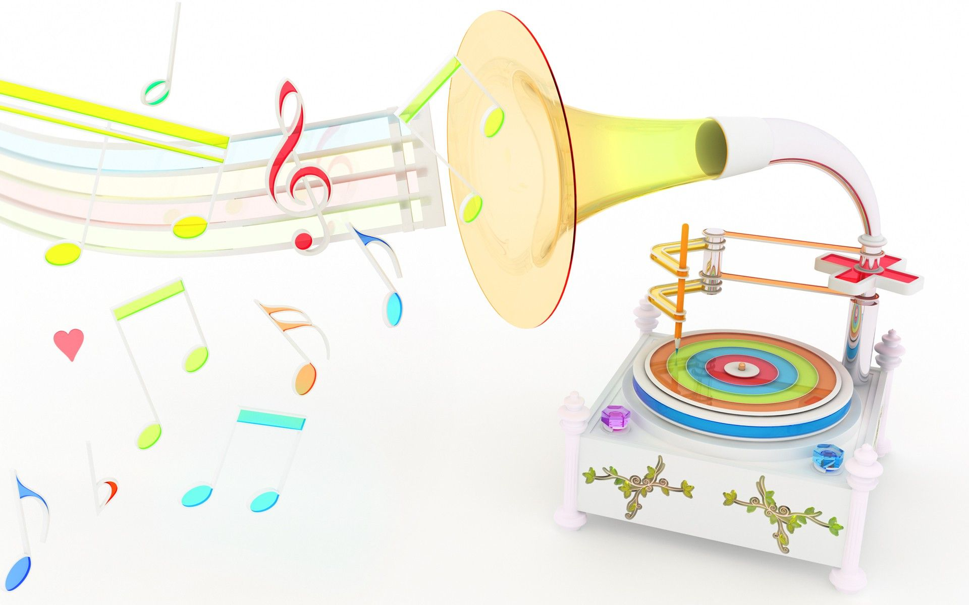 8589130490590 Rainbow Music Notes Wallpaper Hd Jpg: Neon Music Notes Background Neon Trumpet Artwork Wallpaper
