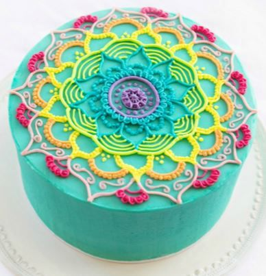 rainbow mandala cake Pinteres