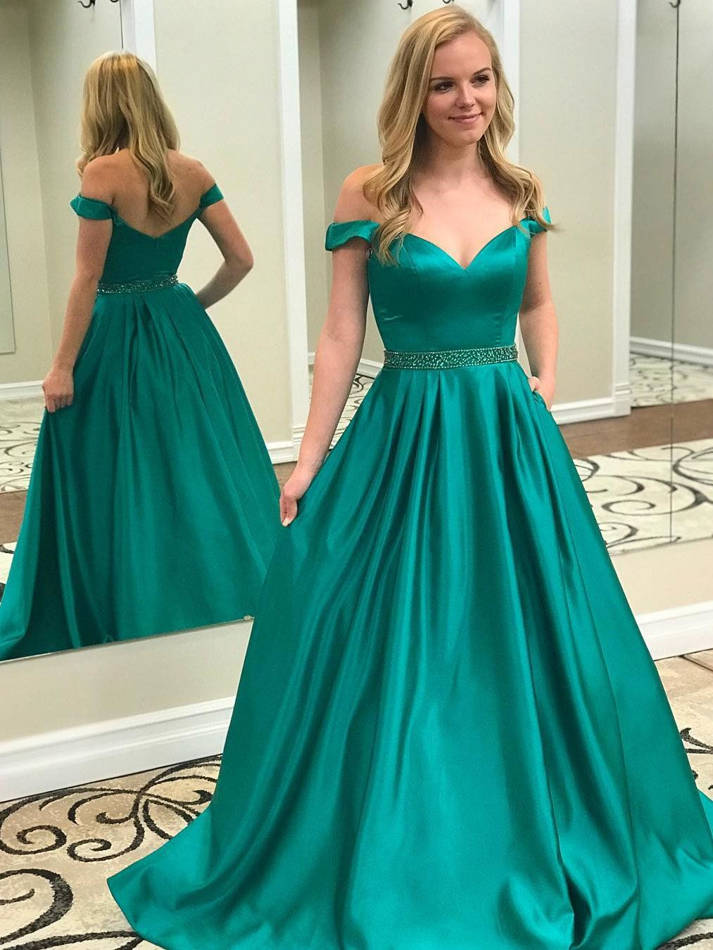 Long off the shoulder green beaded satin maxi formal prom dresses