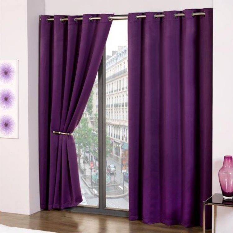 Cali Eyelet Ring Top Thermal Blackout Curtains Purple Thermal