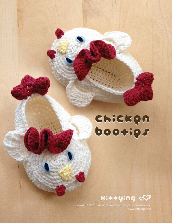 Crochet Pattern Baby Chicken Booties Rooster Preemie Socks Chicks ...