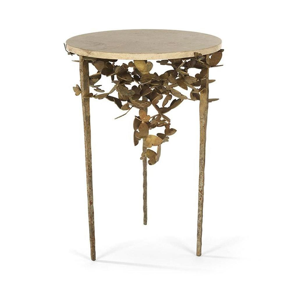 Photo of Marble Butterfly Table – Aged Gold