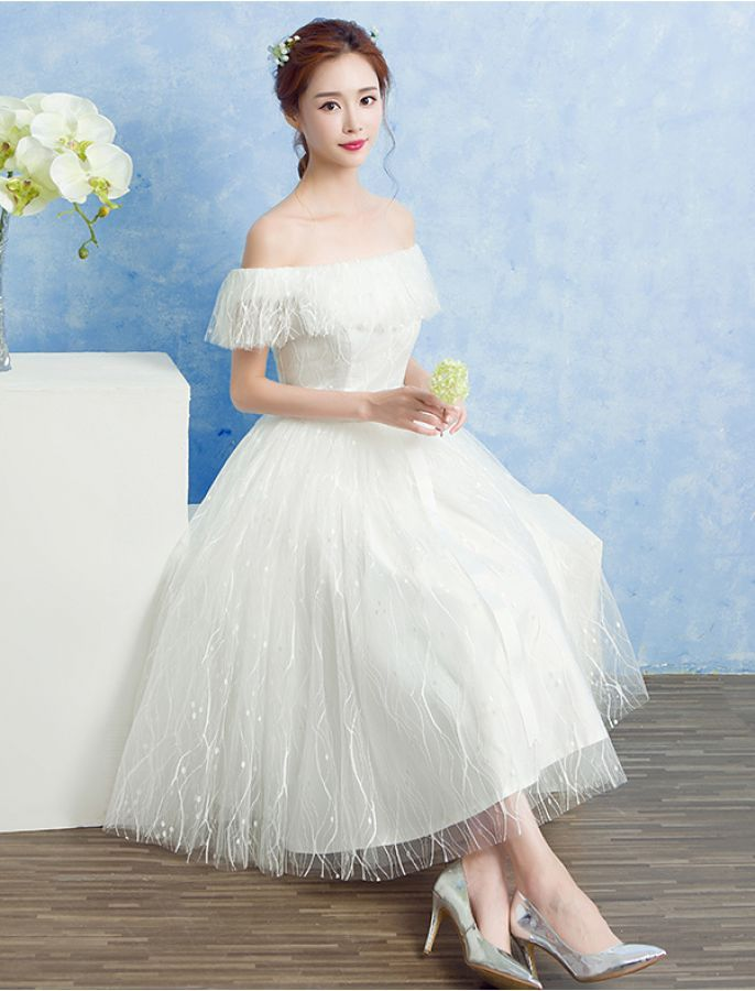 1950s Vintage Style Off Shoulder Forever Yours Lace Wedding Prom
