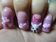 pink kimono with 3d cherry blossom nail design