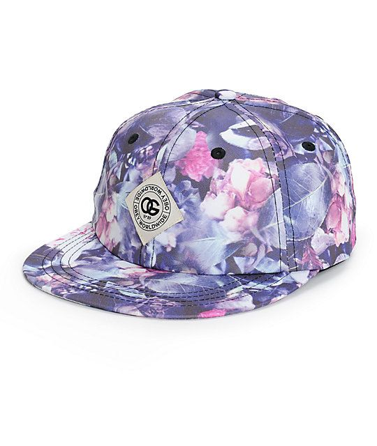 23dbfa7682dbc Effortlessly finish off any look with this exclusive throwback hat that  features a colorful floral print exterior and an a faux leather strapback  sizing ...
