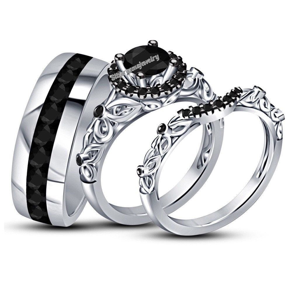 Round Black Diamond Trio Set His Her Engagement Ring Wedding Band
