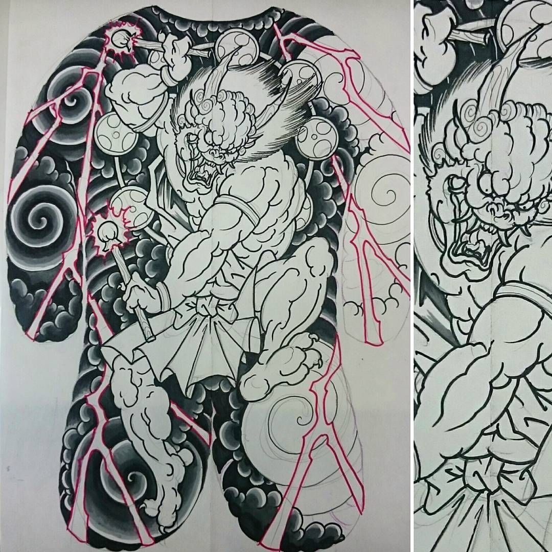 Rob Steele On Instagram Workinprogress On This Raijin Full Backpiece Design Art Drawing Japanese Tattoo Japanese Sleeve Tattoos Japanese Demon Tattoo