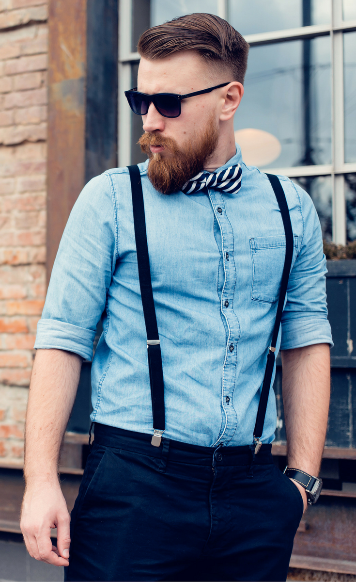 3cd78599fd Men's casual spring fashion style 2017. Denim button up with bow-tie,  chinos, and sunglasses.