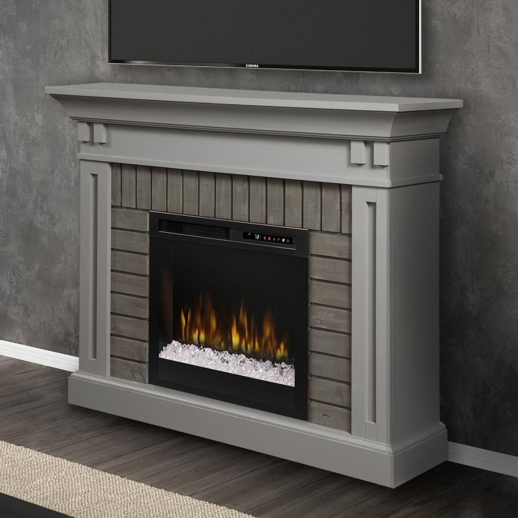 Dimplex Gds28g8 1968sg Madison 58 Inch Electric Fireplace Mantel Glass Ember Bed Stone Gray Bbqguys Electric Fireplace Electric Fireplace With Mantel Fireplace