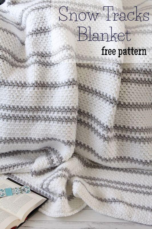 Free Crochet Pattern} Snow Tracks Blanket | Crochet | Pinterest