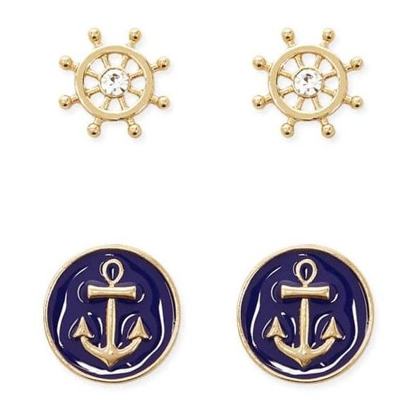 Forever 21 Nautical Stud Earring Set Gold Blue 195 Dop Liked On