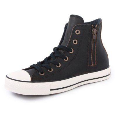 Amazon.com  Converse Chuck Taylor Leather Side Zip 540375C Womens Laced  Leather Trainers Black Brown - 3  Shoes 111a0acce