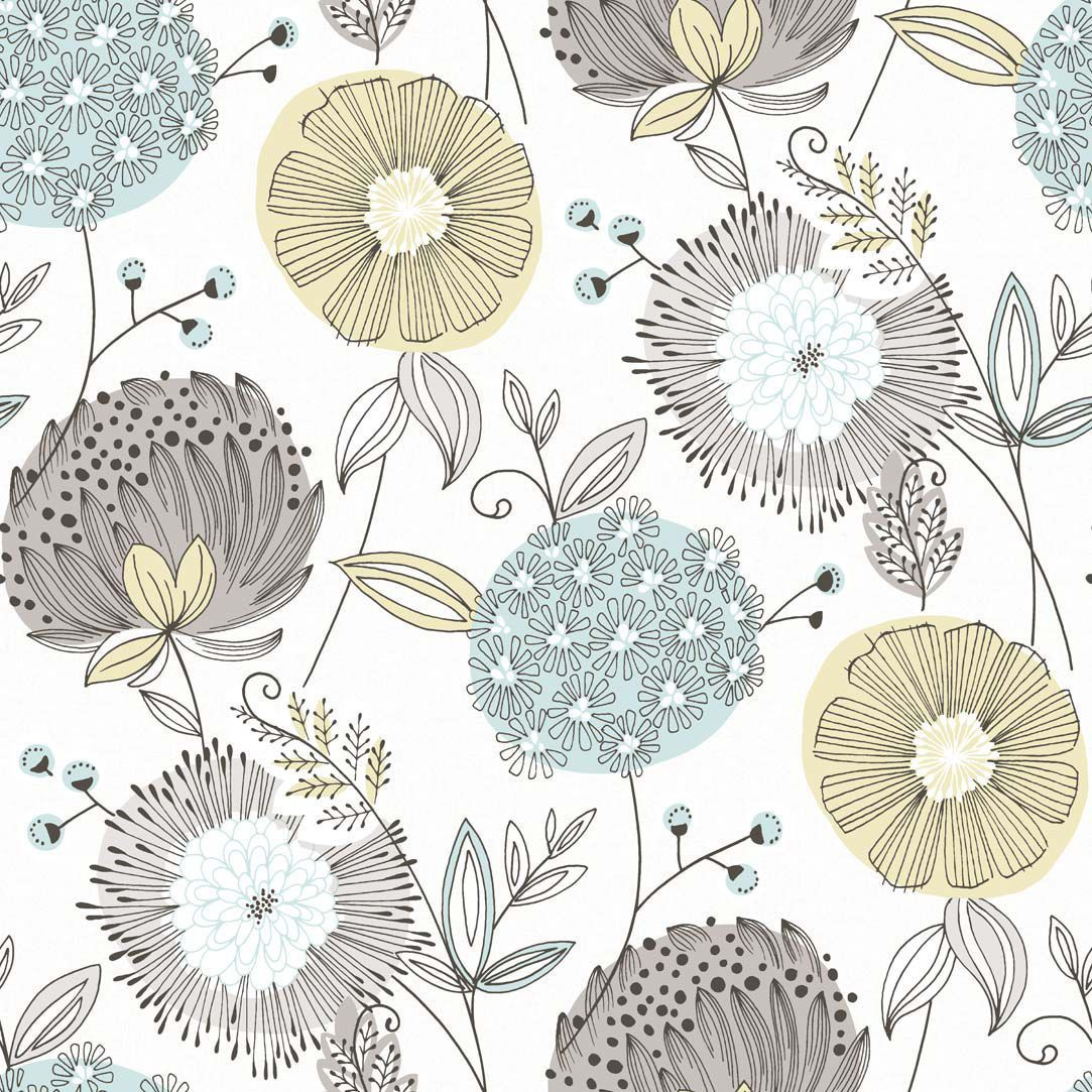Add Instant Texture Color And Definition To Your Wall By Selecting This Brewster Valda Aqua Modern Floral Wallpaper Sample