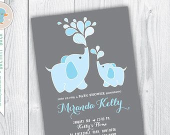 baby elephant invitation elephant baby shower por TinyConfetti