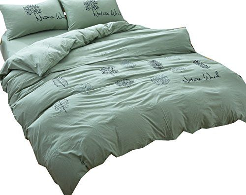 Ningkotex Solid Dyed 4pcs Cotton Jersey Knit Duvet Cover Set With Embroidery King Queen Size Elastic Fitted Sheet Ne Duvet Cover Sets Duvet Covers Fitted Sheet
