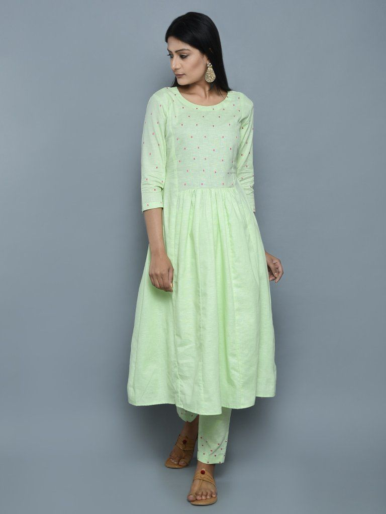 9493e91d667b47 Mint Green Khadi Linen Hand Embroidered Kurta and Pants - Set of 2 ...