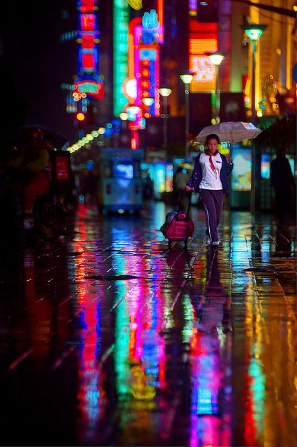 Lost Schoolgirl Rain Rainy Night Digital Photography