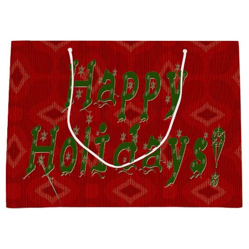 "#Red_Knit_Sweater Green Holiday Wishes Large #Christmas_Gift_Bag - The ease of gift wrapping with the use of decorative Gift Bags is not only appealing for the Giver, it also serves as a welcome additional gift for the recipient as it is sure to be used again & again. This bag features a festive tone-on-tone knitted sweater design in warm vibrant reds. On one side is the caption ""Happy Holidays!"" in a fun, snowflake filled green font that you can keep or clear."