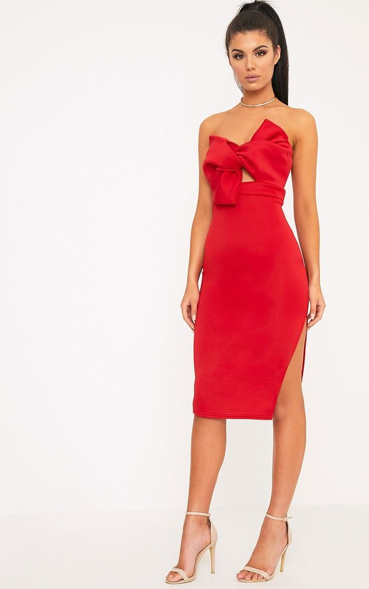 Red bow detail scuba midi dressbe a total knock out with this