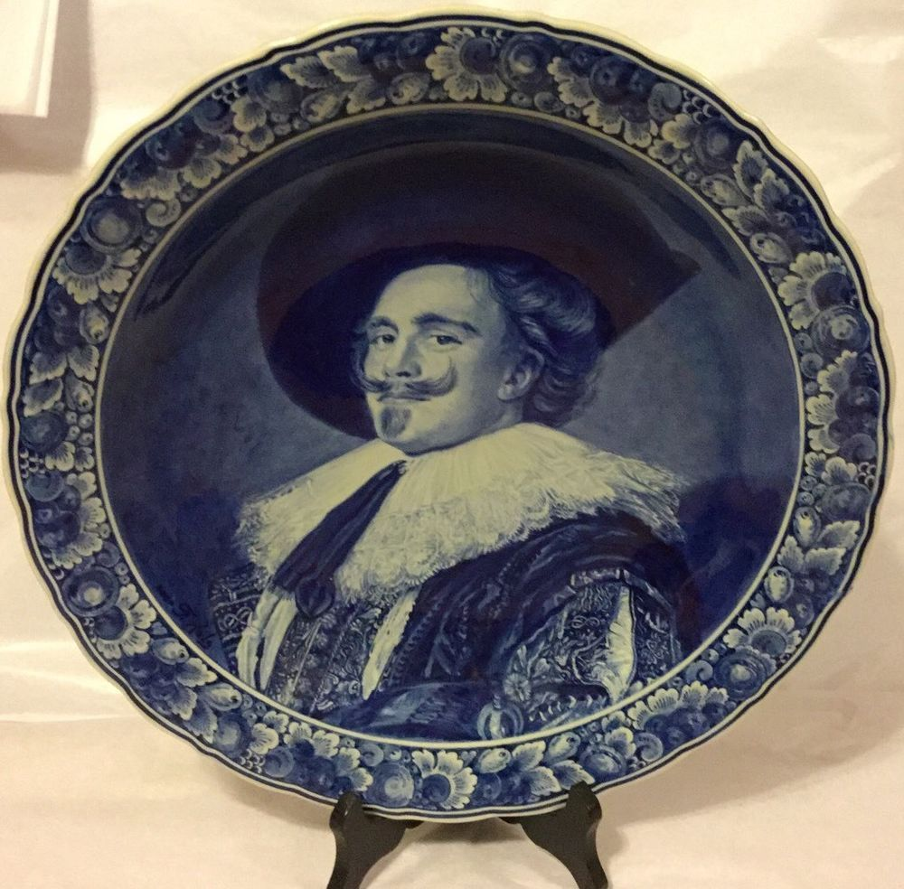 Large Delft Porcelain Blue White Wall Charger Plate Portrait Signed Frans Hal
