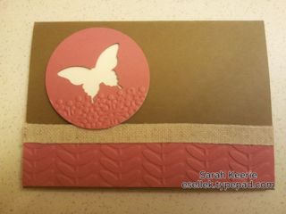 Stampin' Up! What to do with scraps!  Vine embossing folder (sale-a-bration) and the elegant butterfly punch