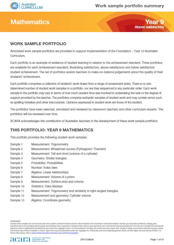 Year 9 Mathematics work sample portfolio - above satisfactory | Year ...