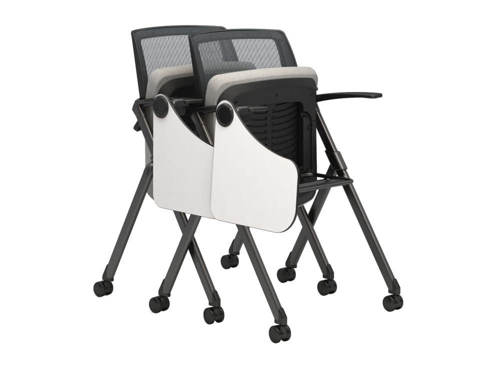 Kimball Office   Flip Chairs W/ Casters And Tablet Arm