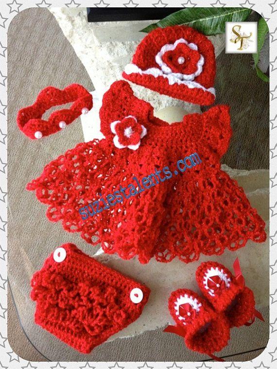 Crochet Baby Dress Set, Baby Dress, Crochet Baby Dress Set, Crochet ...