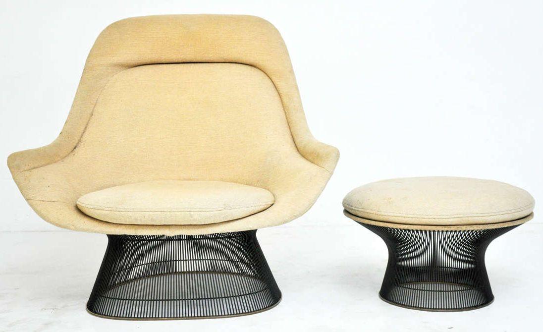 Warren platner knoll fauteuil et pouf à pied grille chrome