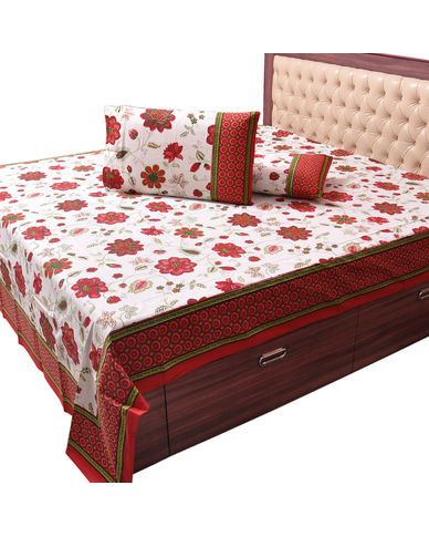 Best Pure Cotton Floral Print Double Bed Sheet Set Buy Bed 400 x 300