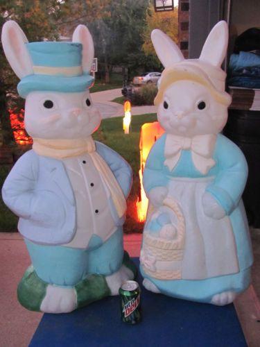 36 Mr Mrs Bunny Easter Blowmold Light Up Vtg Plastic Outdoor