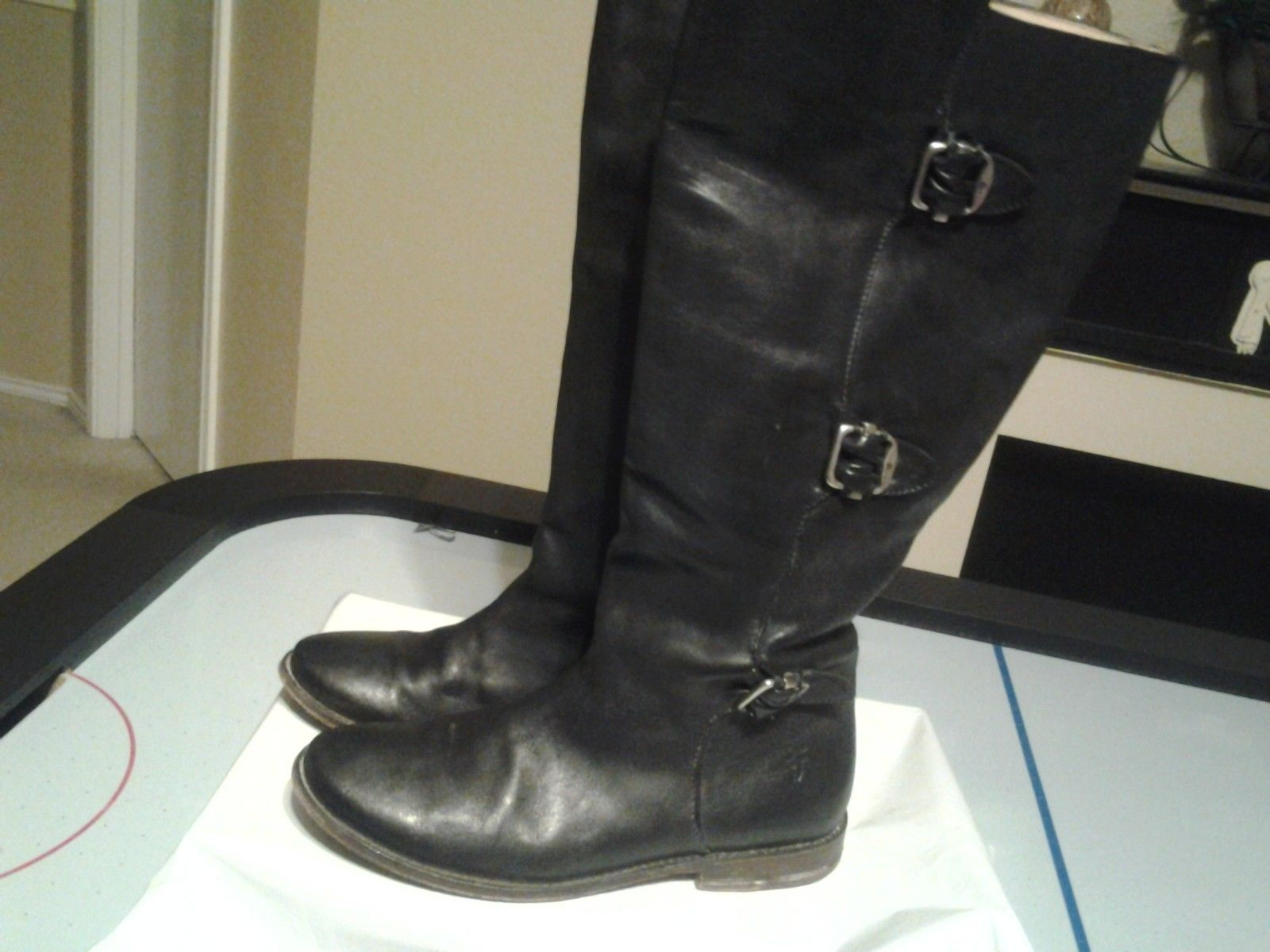 FRYE KNEE HIGH BLACK LEATHER WOMENS BOOTS. SIZE 7 B,M   Christmas ...