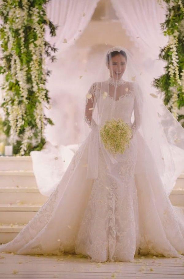 Celebrity Wedding Senator Chiz Escudero And Heart Evangelista Wedding Photos Long Sleeve Wedding Gowns Heart Evangelista Wedding Gorgeous Wedding Dress