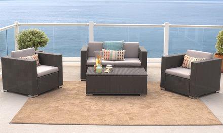 Westlake Grey Wicker 4 Piece Outdoor Sofa Set Patio Sofa Set Patio Furniture For Sale Outdoor Sofa Sets