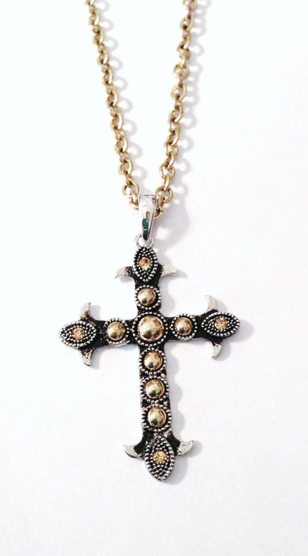 Gothic Rhinestone Cross Necklace | Bijoux, Croix