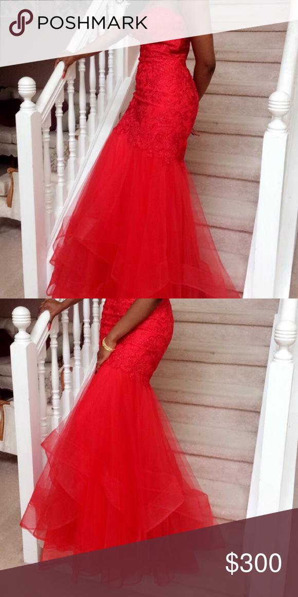 Red Mermaid Prom Dress Heart